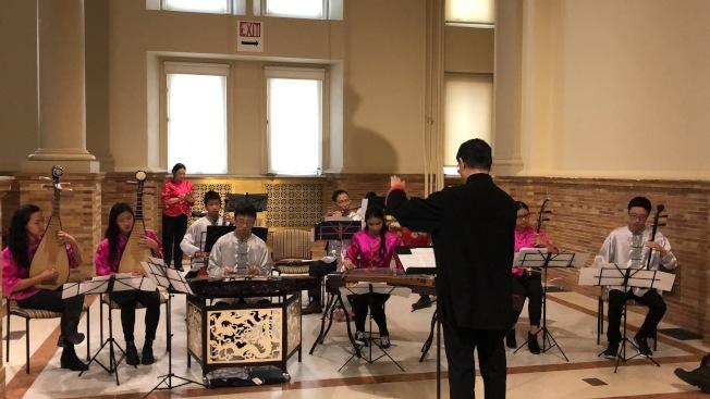 「波士頓第一夜」年度跨年活動熱鬧舉辦,大波士頓中華文化協會國樂團演出。(記者劉晨懿之/攝影)