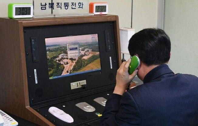 南韓官員3日透過板門店熱線電話和北韓對談。歐新社