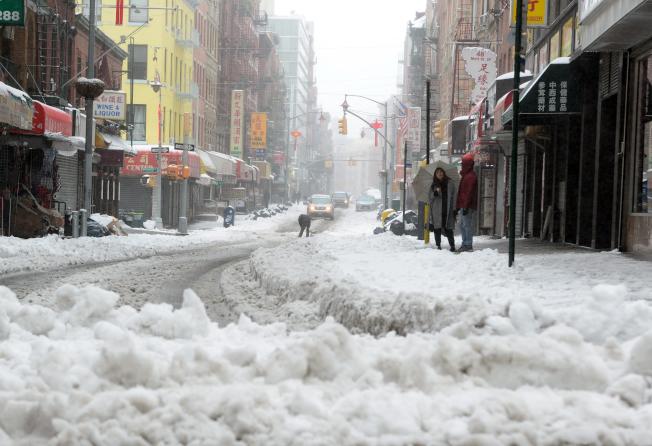 紐約市4日迎接新年第一場大雪。(本報檔案照)