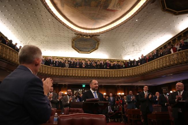 張晟勝選,成為紐約市議會史上最年輕的市議長。(記者洪群超/攝影)