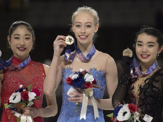 陳楷雯(Karen Chen)(右)將與另外兩位選手譚尼爾(Bradie Tennell)(中)、長州(Mirai Nagasu)(左)於2月9至25日,代表美國參加韓國平昌冬季奧運,為國爭光。(圖:翻攝自網路新聞)
