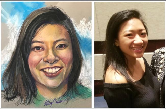 警方提供的肖像和文席玲的照片對照。(谷內警方提供)