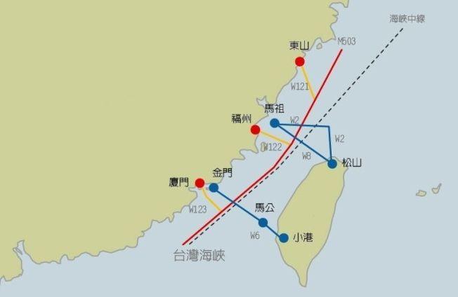 M503與W121,122,123航路示意圖。(聯合報)