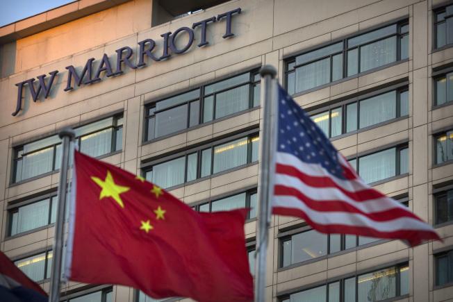 萬豪集團在中國有上百家連鎖酒店,圖為北京的JW萬豪酒店。(美聯社)
