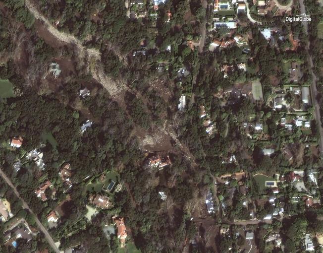 2018年1月11日衛星照片顯示蒙特西度住宅區一片土黃。(美聯社/數位地球新聞處提供)