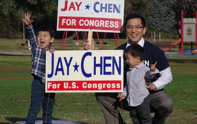 在決定參加39區眾議員選戰後,陳介飛馬不停蹄著手準備,連競選廣告牌都先聲奪人。(陳介飛提供)