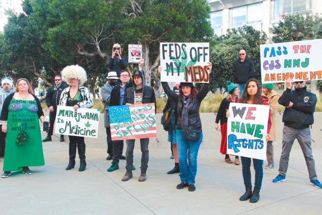 全美支持大麻的團體都在請願、集會抗議司法部長塞辛斯,並要求聯邦立法保障大麻。(記者李╱攝影)