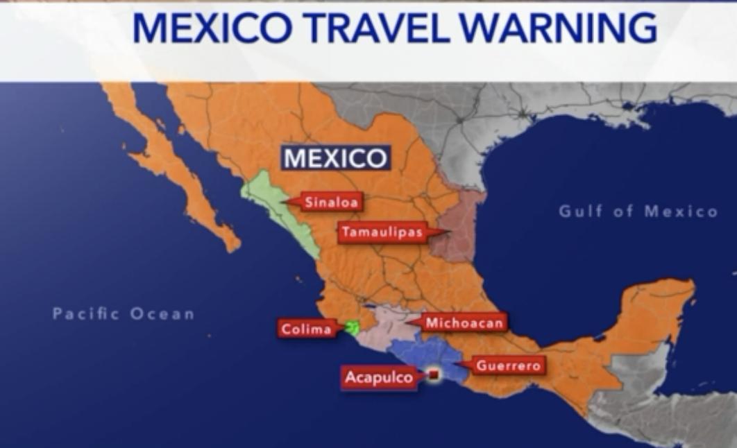 墨西哥有五州因具有高犯罪率,目前遭美國列為最高等級的「Do not travel」警告。(截圖自KTLA5)