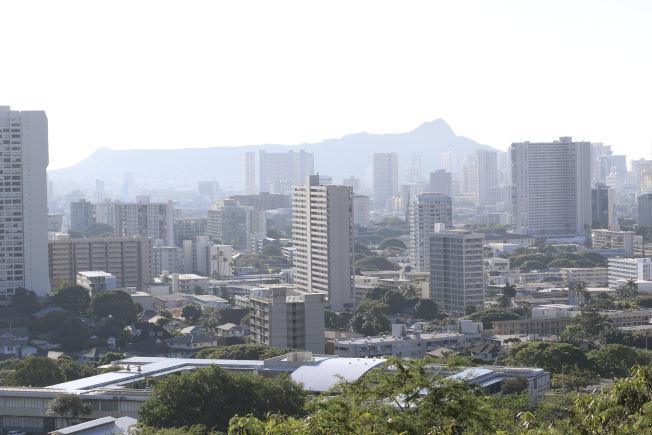 夏威夷居民一早接到飛彈來襲警報,圖為檀香山市區。(美聯社)
