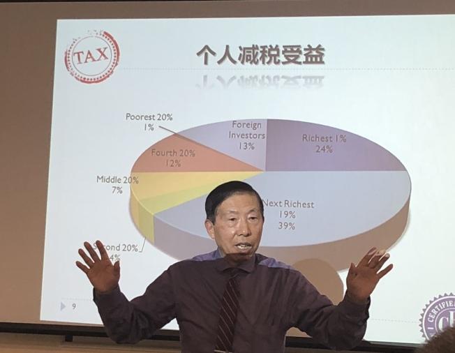楊心傳13日在法拉盛為民眾講解新稅法對民眾繳稅的影響。(陳小寧/攝影)