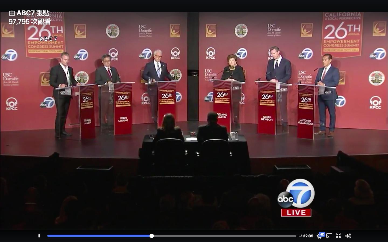 六位州長競選人首次齊聚,參加辯論。(直播截圖)