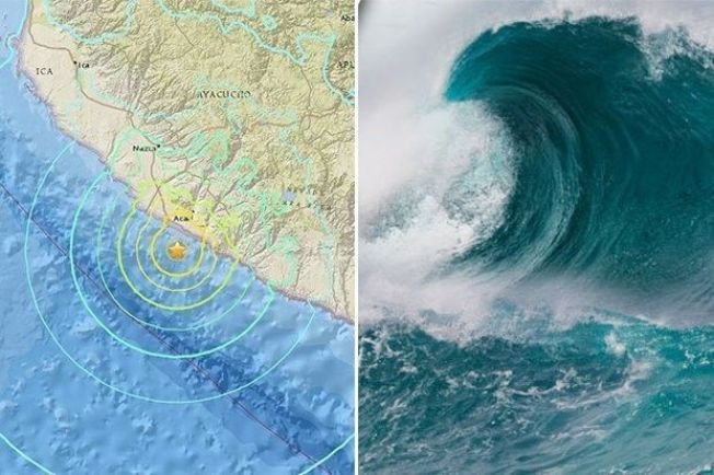 美國地質調查所(USGS)表示,秘魯南部城鎮普基奧(Puquio)西南方124公里的外海發生規模7.3淺層強震,震源深度僅10餘公里。震央附近已發布海嘯警報。圖擷自dailystar