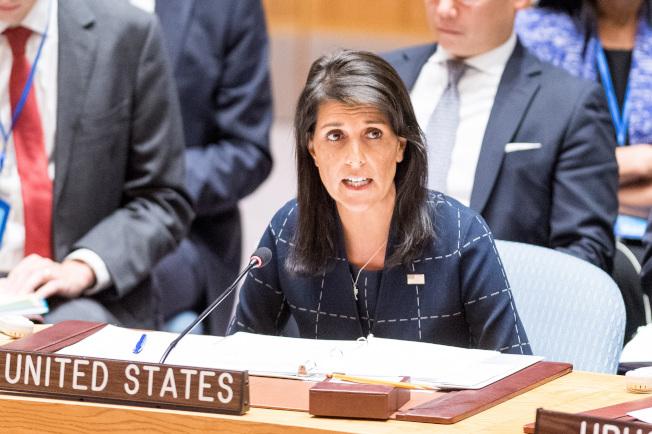 美國駐聯合國大使海理(Nikki Haley)出面闢謠,否認與總統川普有染。(TNS)