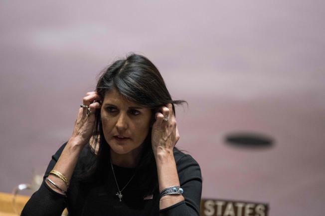 美國駐聯合國大使海理(Nikki Haley)出面闢謠,否認與總統川普有染。(Getty Images)