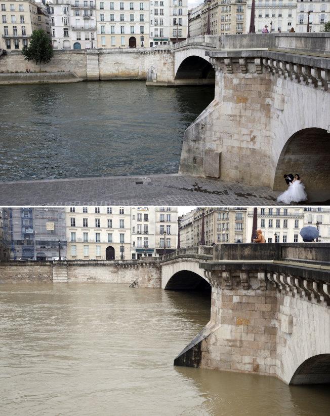法國巴黎塞納河水位暴漲,河堤下兩岸的道路全被淹沒(下圖)。(路透)