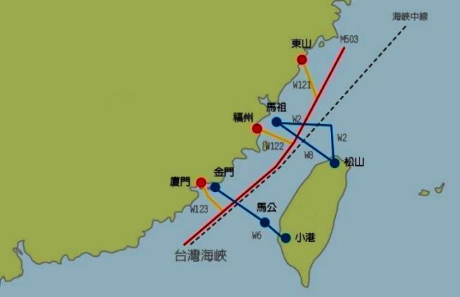 圖為M503與W121,122,123航路示意圖。新華社報導,國際航協(IATA)早回覆台民航局明示M503合乎規定。聯合報系資料照片