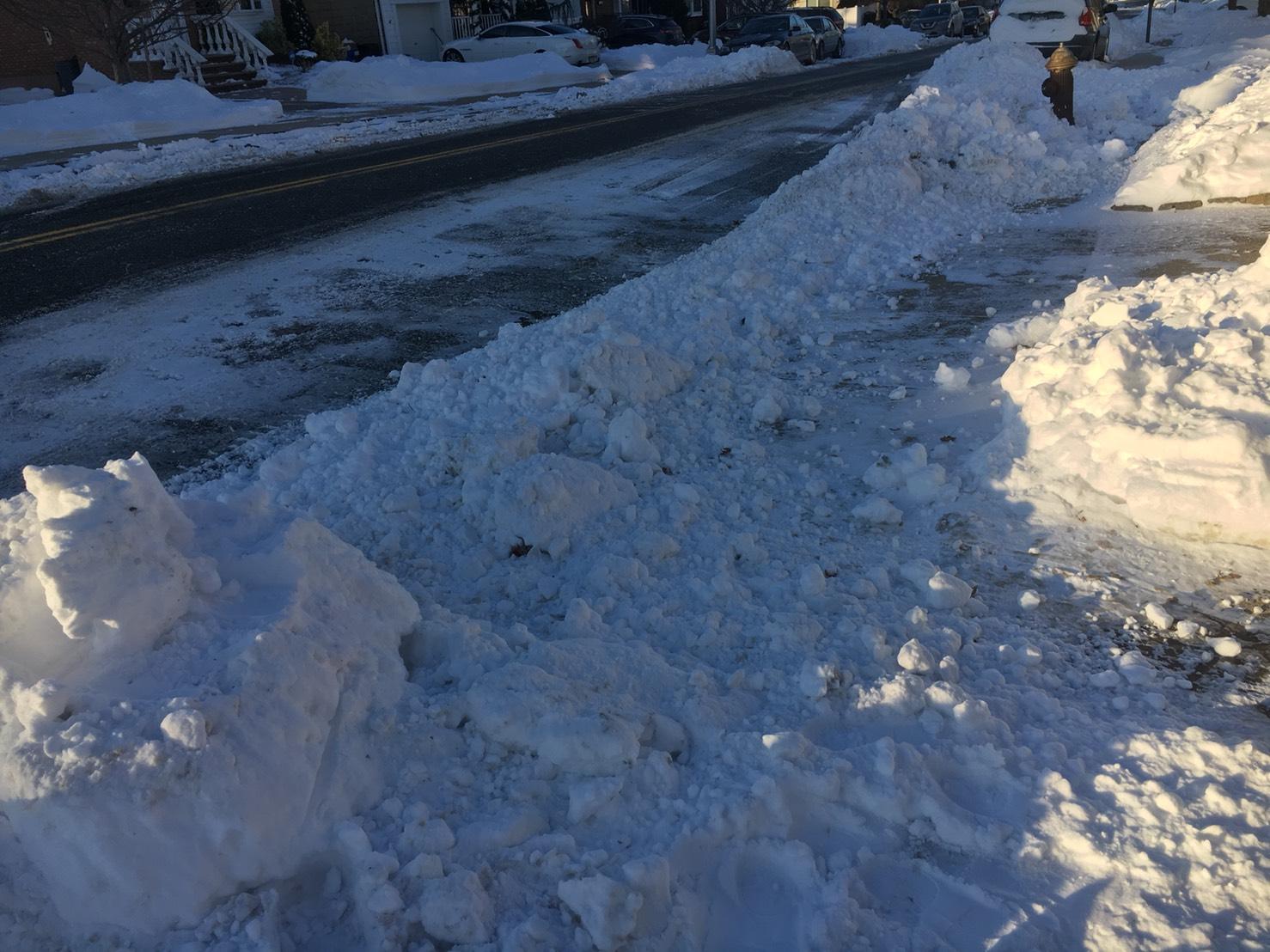 早上看到自家車道快哭出來,辛苦剷的車道被剷雪車蓋過。(網友S. Lin 2018/01/06@美國紐約)