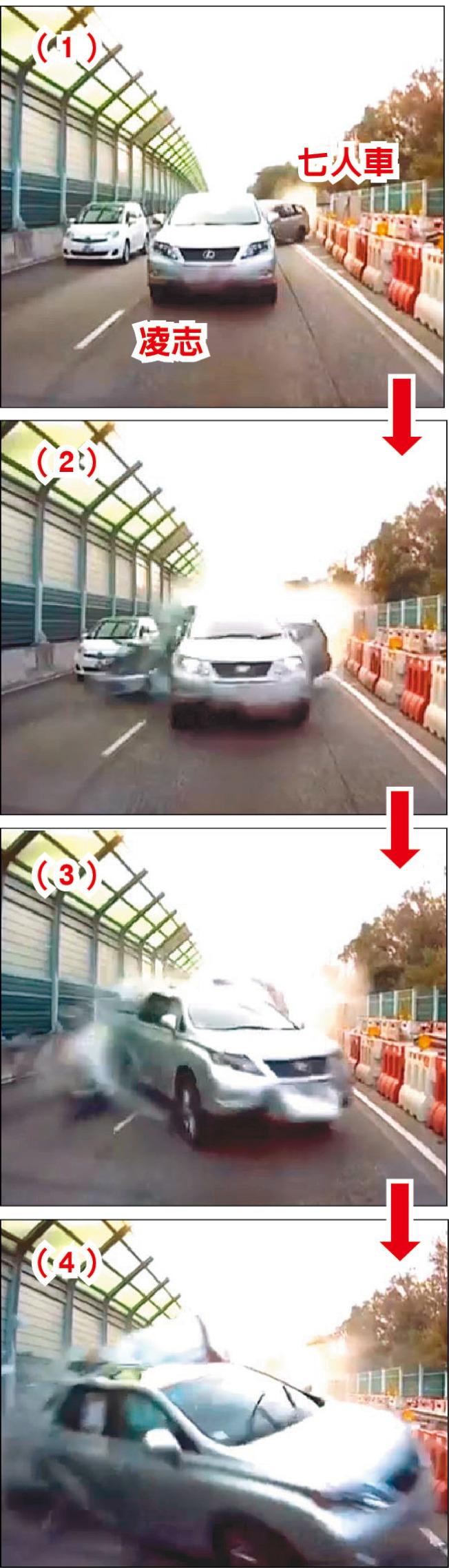 從被撞車的「車CAM」片段所見,七人車失控連掃公路邊的路障後撞向凌志,凌志被往前推,追撞向前方私家車尾。 (短片截圖)