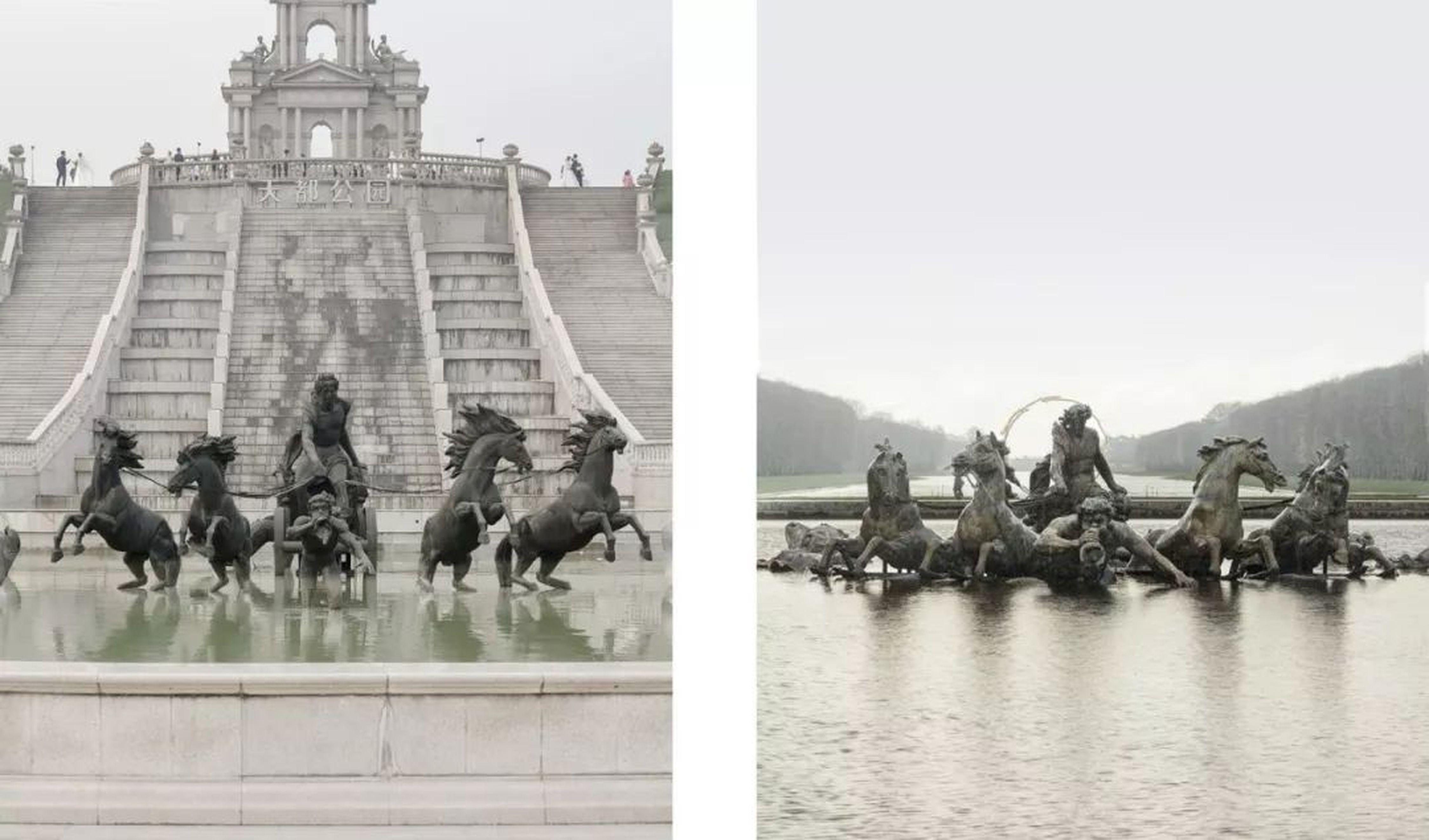 天都公園內的噴泉(左)和法國凡爾賽宮內的噴泉(右)相似度極高。(取材自微信)