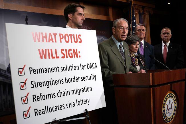 參院共和黨議員支持移民法案的四大支柱,DACA永久性解決方案、加強邊界安全、改革鏈式移民及重新分配抽籤移民。(Getty Images)