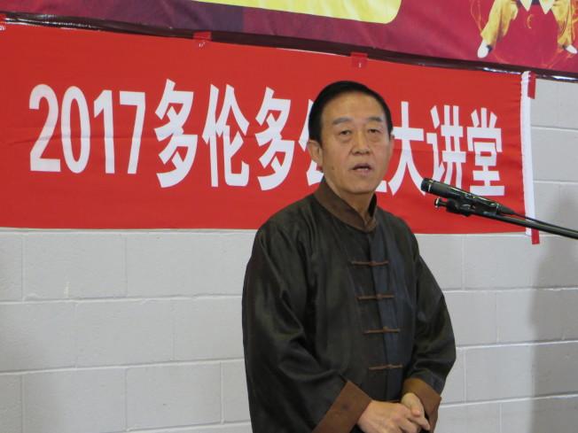 陳氏太極拳第11代傳人陳正雷講太極拳。(周密提供)