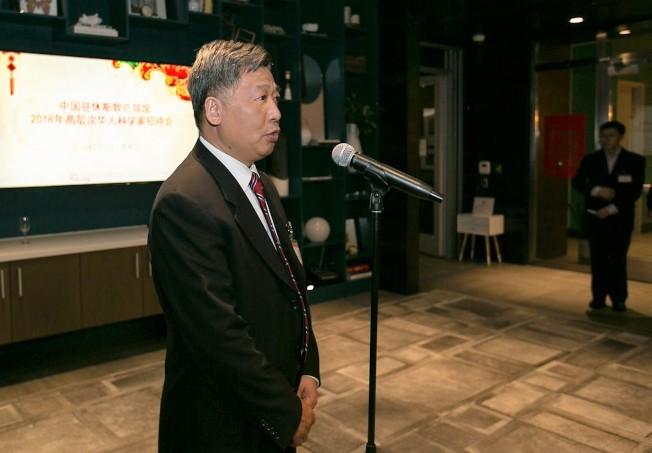 中領館總領事李強民總領事在招待會上致詞。(中領館提供)