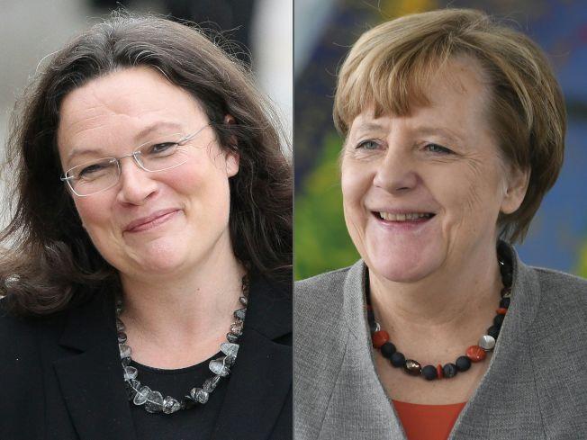 除德國總理梅克爾(右,Angela Merkel)外,那勒斯(左,Andrea Nahles)準備加入德國政黨愈來愈多女性領導人或共同領導人的行列。(Getty Images)