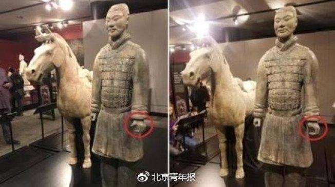 遠赴美國費城富蘭克林科學博物館出展的中國國寶西安秦始皇陵兵馬俑拇指被折斷盜走。取自北京青年報
