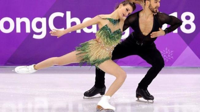 賽前備受看好的法國花式滑冰搭檔帕帕達吉斯(Gabriella Papadakis)和西澤龍(Guillaume Cizeron)。(Getty Images)