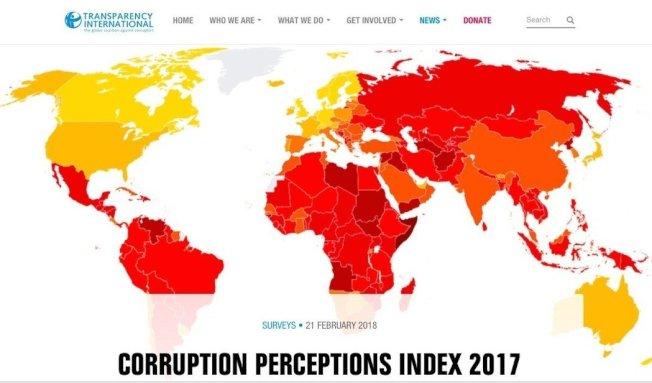 國際透明組織21日公布《2017年貪腐印象指數》調查,對象涵蓋180個國家,台灣排第29。國際透明組織官網截圖