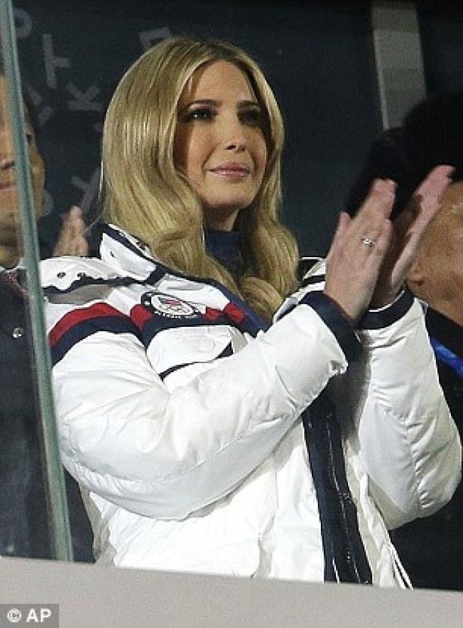 代表美國出席平昌冬奧尃幕式的伊凡卡。(美聯社)