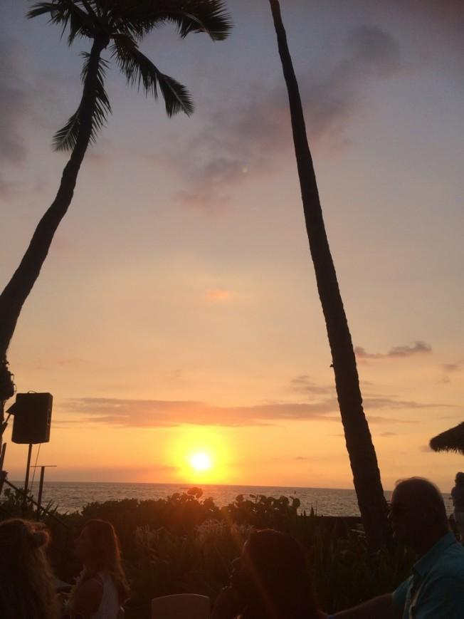 高高棕櫚樹搖曳著,彩虹滿天,夕陽從滔滔海面漸漸落下。