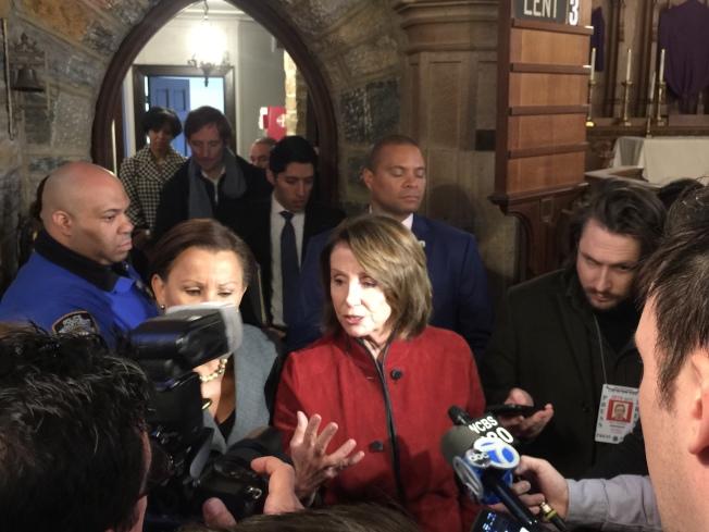 众院少数党领袖波洛西(Nancy Peloci),誓言将在未来废除这项共和党新税改法案。(记者林群/摄影)。