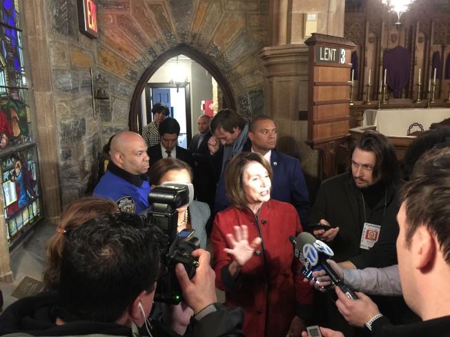 众院少数党领袖波洛西,誓言将在未来废除新税改法案。(记者林群/摄影)。