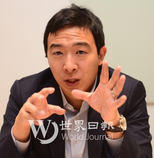 華裔企業家楊安澤出馬參選總統,他的主要政見就是要給每個成年公民每月1000元的「自由紅利」 。(許振輝/攝影)