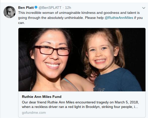 百老匯明星為韓裔布魯曼斯坦和盧勞拉哀悼和募款。(取自Ben Platt推特)