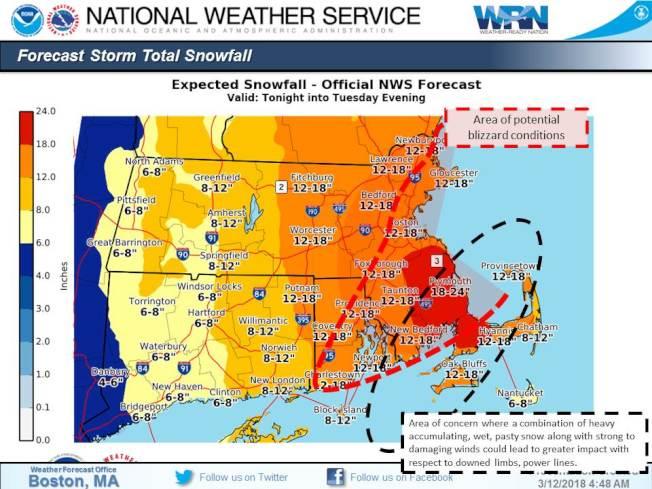 國家氣象局提醒,又一場東北風暴今晚將登陸新英格蘭,南部地區受影響最大,預測將迎24吋及更多降雪,波士頓及周圍城鎮也預計會降雪12至18吋。(取自國家氣象局波士頓分部推特)