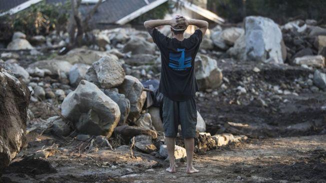 風暴系統來襲,聖塔芭芭拉縣政府強制要求山火地區居民撤離。(洛杉磯時報)