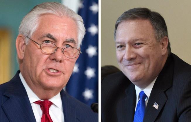 國務卿提勒森(左)卸任,改由原中情局局長龐培歐(右)接替。歐新社
