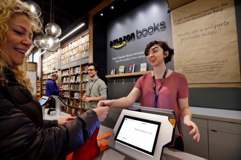 亞馬遜實體書店已在全美八州落戶。(美聯社)
