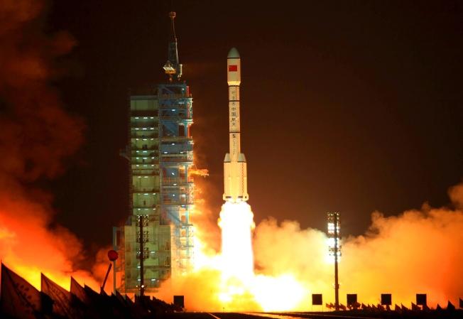「天宮一號」2011年9月29日於中國酒泉衛星發射中心,由長征二號火箭送上太空。(Getty Images)