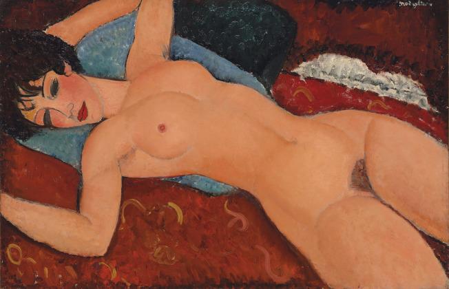莫迪利亞尼1917至1918年作品「斜躺的裸女」現入藏上海龍美術館。(美聯社)