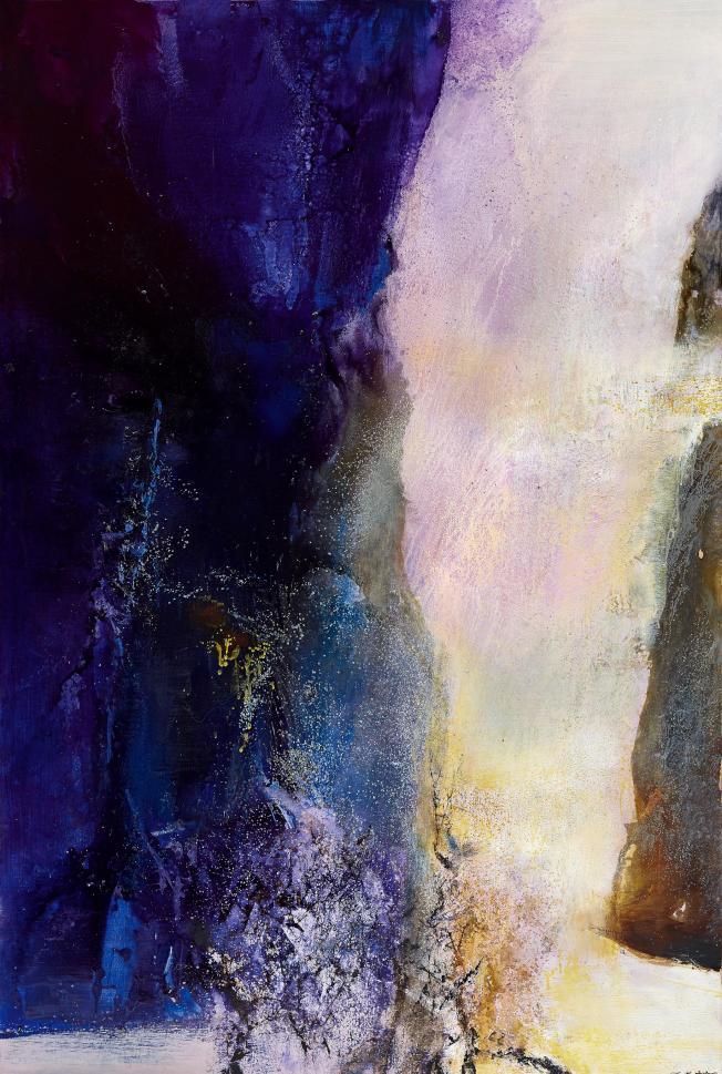 法籍華裔畫家趙無極抽象作品「25.06.86桃花源」。(嘉德提供)