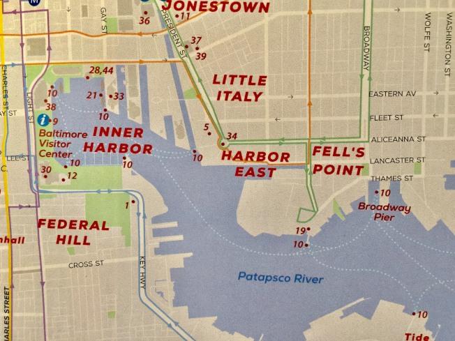 巴爾的摩港區圖,菲爾斯點在內港以東約一英里處,一天的水上計程車(Water Taxi)周遊券14元,可無限次搭乘。(特派員許惠敏/攝影)