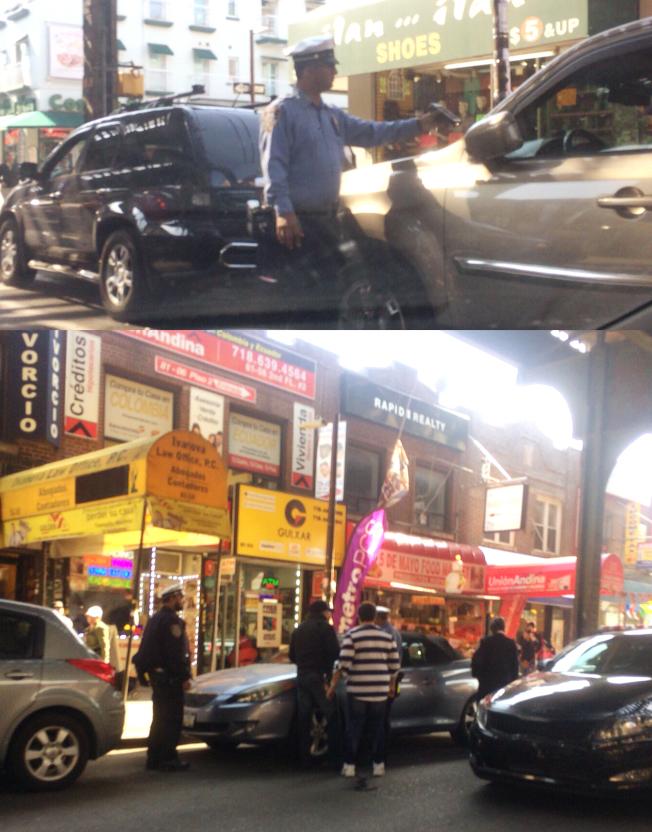羅斯福大道部分路段禁止尖峰時段路邊停車後,交通警察大肆開罰。(取自82nd St. Partnership推特)