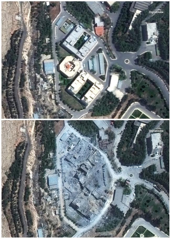 敘利亞化武設施Barzah Research and Development Center,上左為4月13日中心的衛星圖,上右為15日衛星圖,顯示中心已被導彈夷為平地。(美聯社)