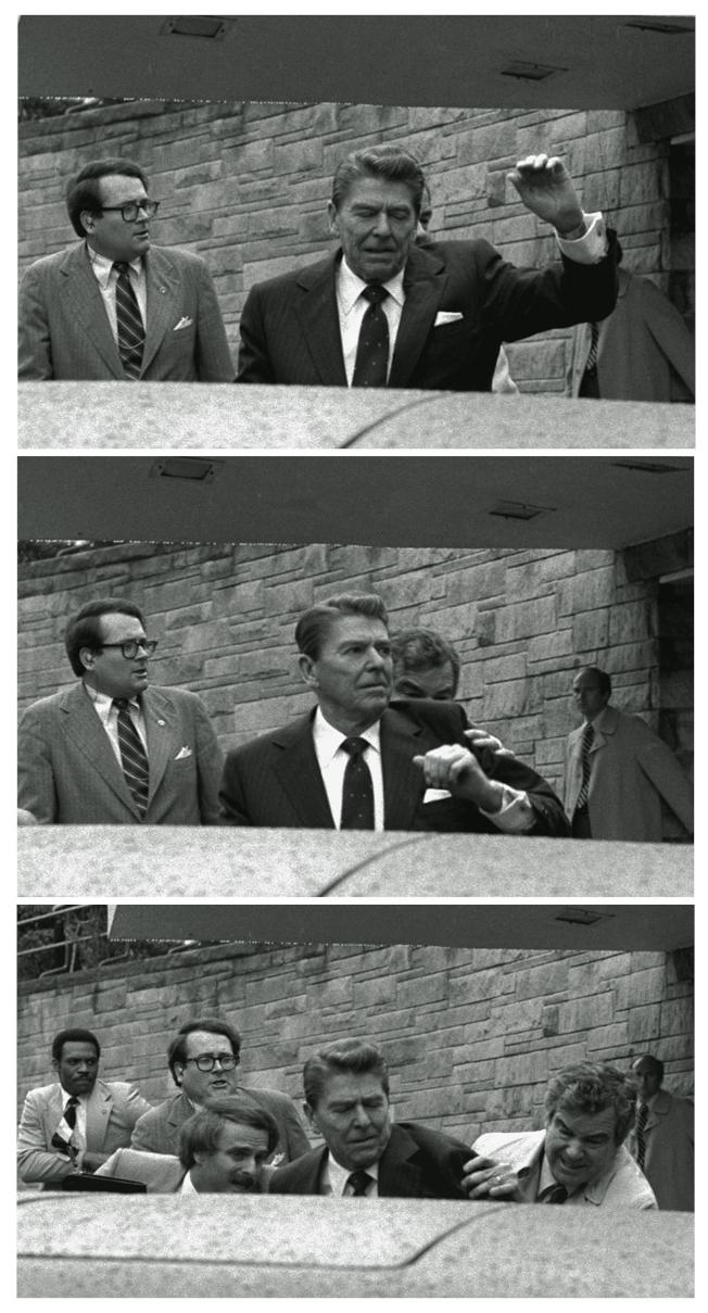 雷根1981年3月在華府遇刺的連續鏡頭,最下一張是中槍後由特勤局人員扶上汽車。(美聯社)