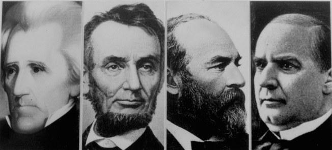 傑克森(左起)、林肯、賈菲德和麥金利等四位美國總統皆成刺殺目標,但傑克森未遇害。(美聯社)