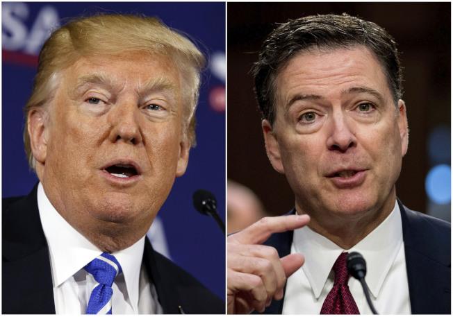 川普總統(左)在美國廣播公司15日晚間播出聯邦調查局前局長柯米接受專訪節目前,推文批評柯米「將以歷來最糟的FBI局長留名歷史」。(美聯社)