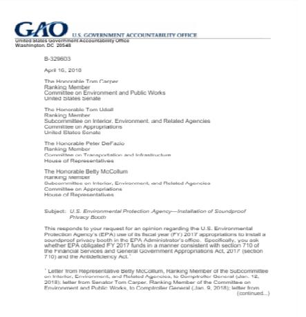 GAO致函國會兩院相關委員會,確認環保署裝隔音室未先通告國會,屬違法行為。(GAO)